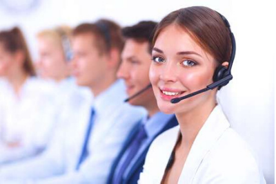 View of a woman with a headset on representing SRO's sales recruitment platform