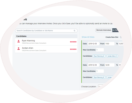 Interview scheduling tool example from SRO's applicant communication platform