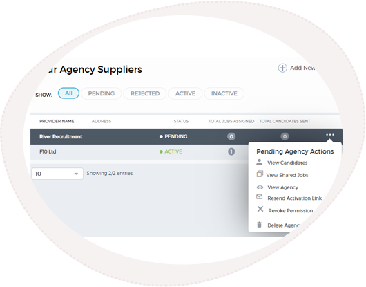 the agency management section of SRO's recruitment management software
