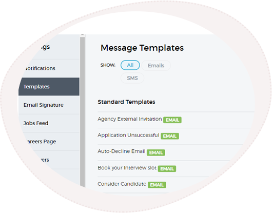 the message template section of SRO's recruitment management software