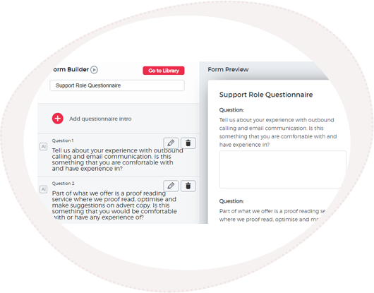 View of SRO's form builder tool for candidate pre employment screening