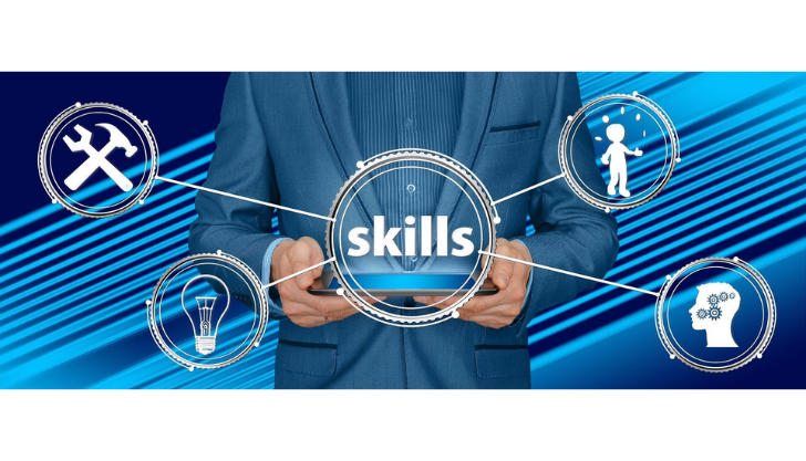 Graphic of a man holding different skills to represent professional staff development