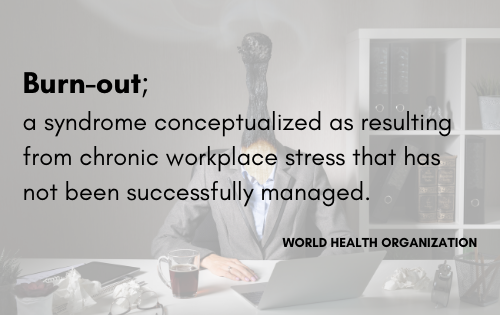 the world health organisation definition of Burnout as chronic unmanaged workplace stress