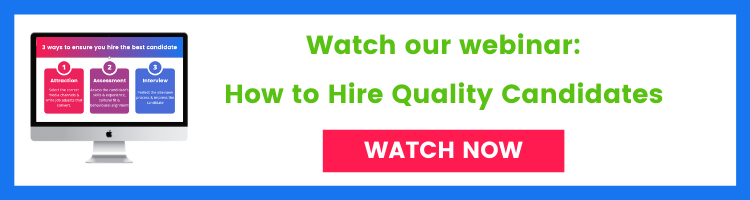 Banner for webinar on how to hire quality candidates