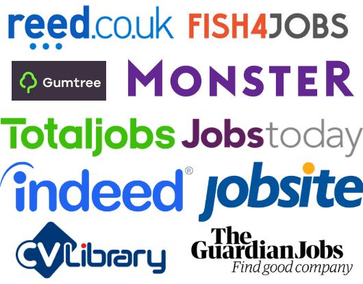 Job board network logos like reed, totaljobs and jobsite