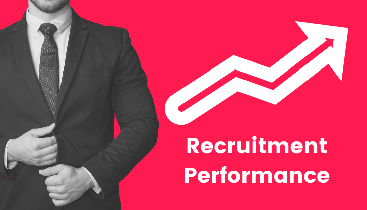 The recruitment metrics blog banner with a man in a suit and arrow pointing upwards