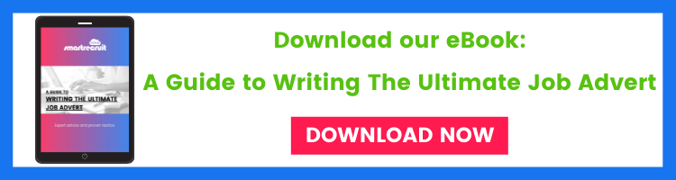 eBook banner on writing the ultimate job advert with an ipad and text