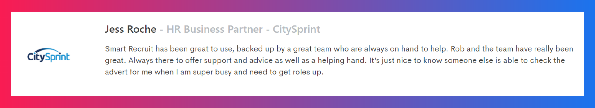 Quote from City Sprint on our transport and logistics recruitment platform
