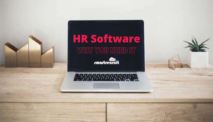 View of a laptop with the words HR software representing the major benefits