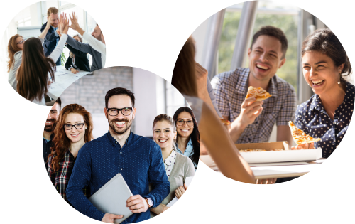 Three different images of workplace teams smiling and collaborating