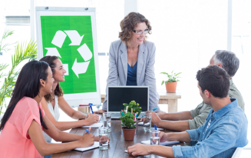 A meeting about workplace corporate social responsibility