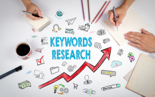 Keyword research drawing representing google ads for recruiting