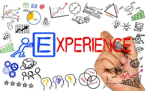 The word 'experience' in the middle of graphs and charts