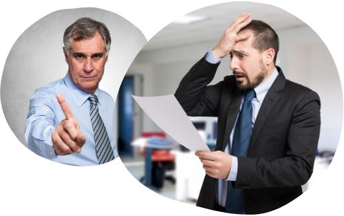 A boss reprimanding his employee