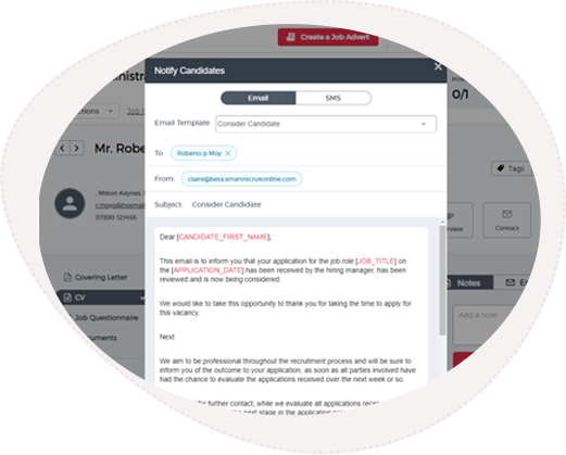 Email template as part of the applicant tracking system