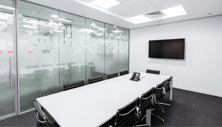 view of an office boardroom representing the phased return to work
