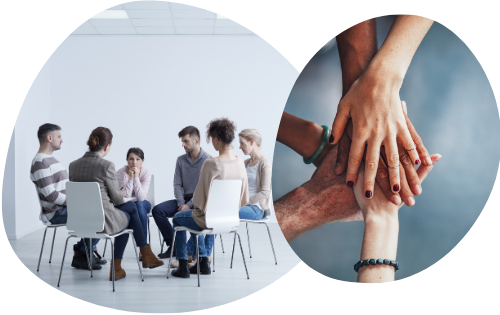 employees sat in a wellbeing support group